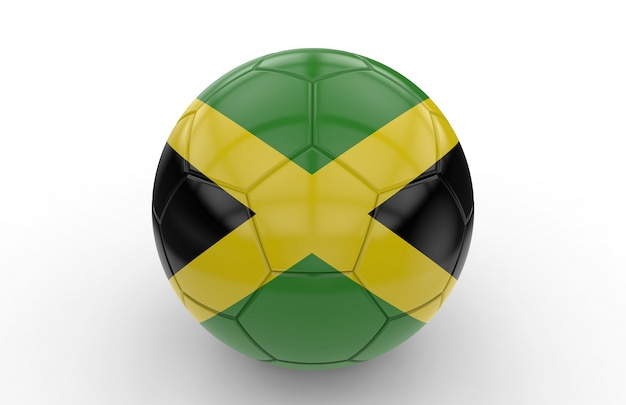 Bola futebol, com, jamaicano, bandeira