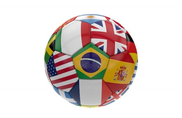 Bola futebol, com, muitos, bandeiras