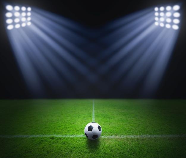 Bola futebol, ligado, a, grama verde