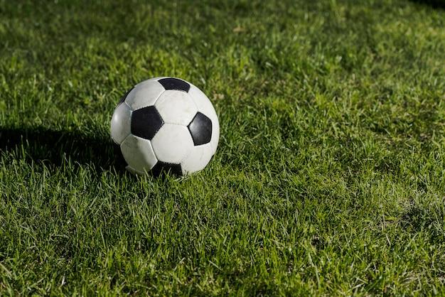 Bola futebol, ligado, capim escuro