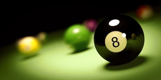 Bola n. 8 em uma mesa de bilhar render 3d
