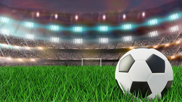 Bola no campo de futebol e holofotes brilhantes. renderização 3d