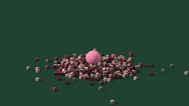 Bola rosa e cubos coloridos. fundo verde. ilustração abstrata,