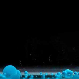 Bolas acrílicas azuis sobre fundo preto, com espaço de cópia