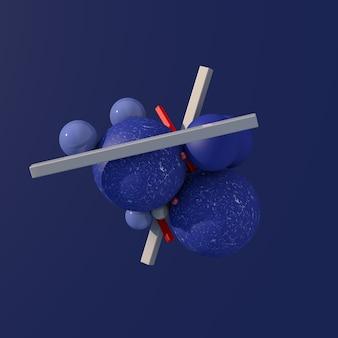 Bolas azuis texturizadas e brilhantes, blocos de vidro cinza e vermelho