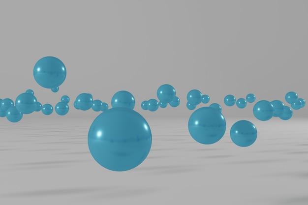 Bolas azuis voando em uma cena de renderização 3d abstrata de fundo branco