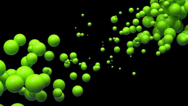 Bolas brilhantes em ordem aleatória no ar em um fundo preto