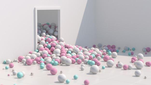 Bolas coloridas brilhantes caindo e rolando. sala branca, luz forte. ilustração abstrata, renderização 3d.
