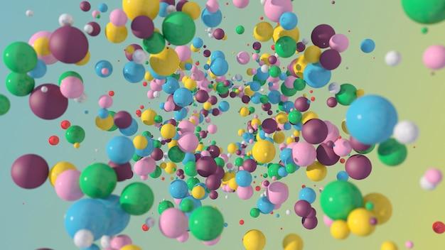 Bolas coloridas voando. luz forte. ilustração abstrata, renderização 3d.