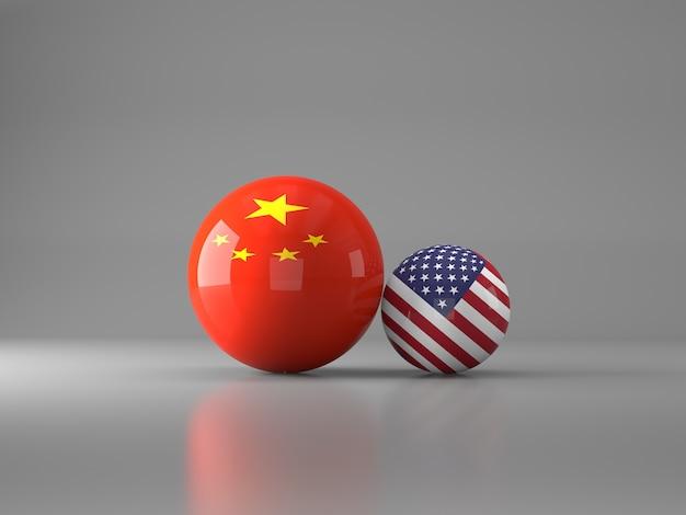 Bolas com bandeiras dos estados unidos e china