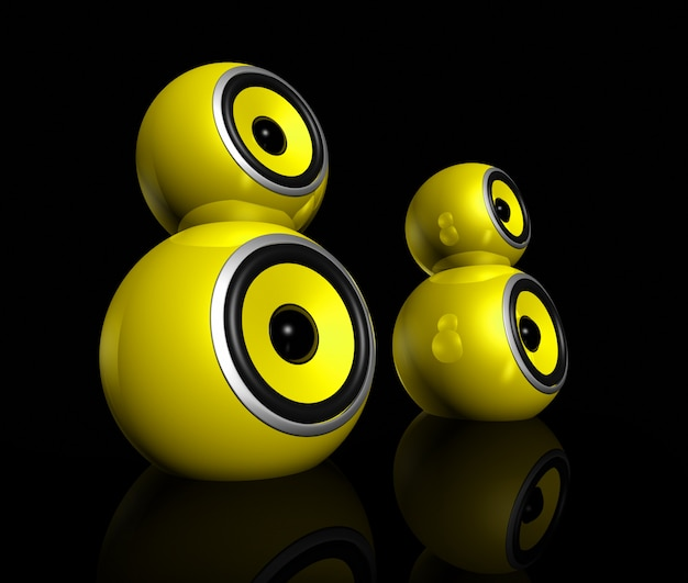 Bolas de alto-falante amarelo