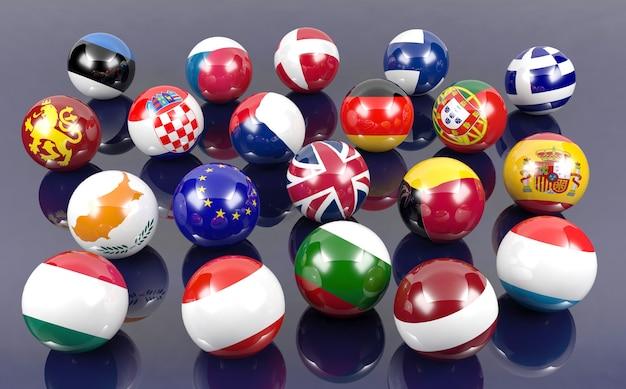 Bolas de bandeira de países europeus, renderização em 3d