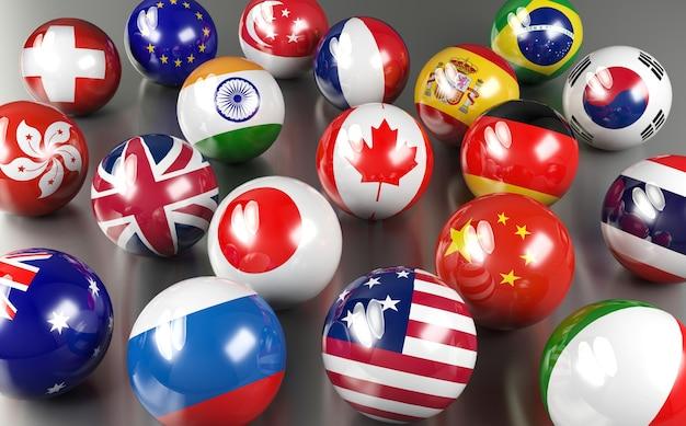 Bolas de bandeira dos países membros do euro