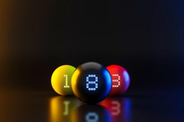 Bolas de bilhar coloridas com jogo da associação e conceito do entretenimento.