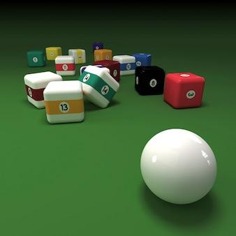 Bolas de bilhar cúbicas em uma mesa de feltro verde