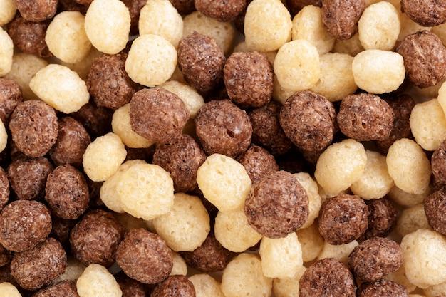Bolas de cereais para o fundo do café da manhã