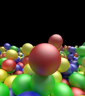 Bolas de cor. fundo de cores brilhantes, renderização em 3d