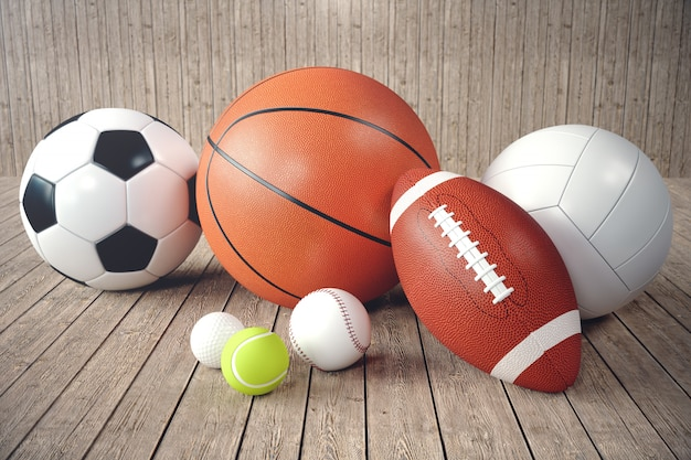 Bolas de esporte renderização 3d no backgorund de madeira