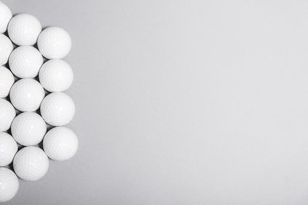 Bolas de golfe vista superior com espaço de cópia