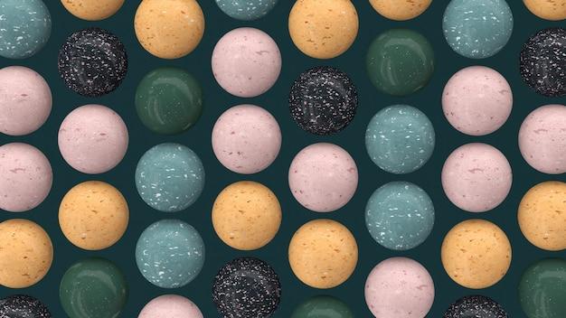 Bolas de granito. esferas texturizadas coloridas. ilustração abstrata, renderização 3d.