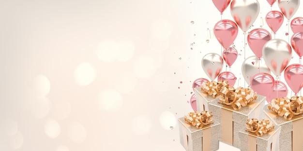 Bolas de ilustração 2d, estrelas, caixas de presente e um local para colocar mensagens