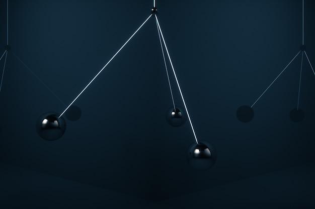 Bolas de metal balançam no ar sem colidir umas com as outras