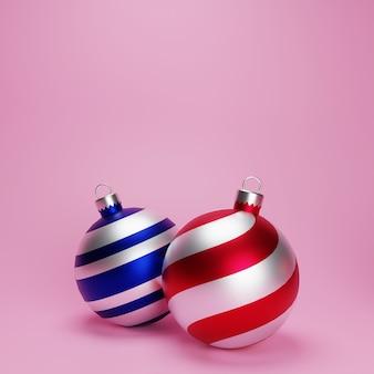 Bolas de natal 3d realistas em fundo rosa. natal e enfeite, temporada de inverno