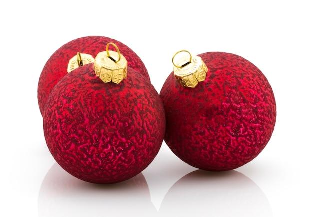 Bolas de natal ano novo bugiganga decoração esfera ícone vermelho tradicional. branco brilhante do símbolo do inverno do merry xmas brilhante.
