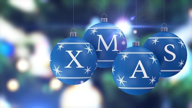Bolas de natal azuis penduradas com efeito de luzes bokeh atrás