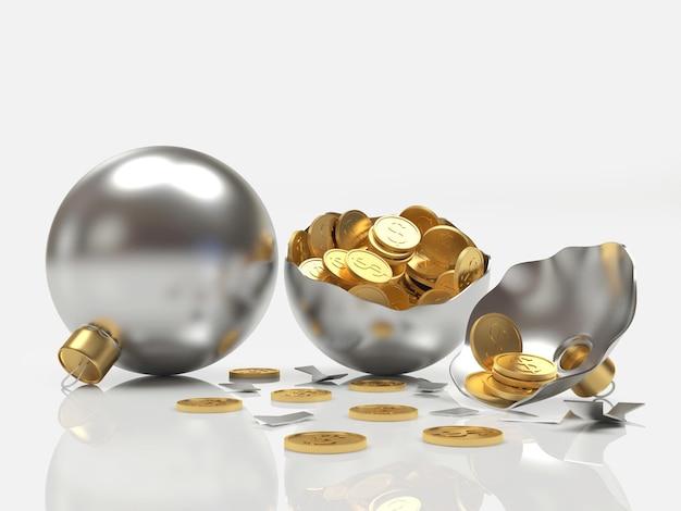 Bolas de natal de prata inteiras e quebradas com moedas isoladas
