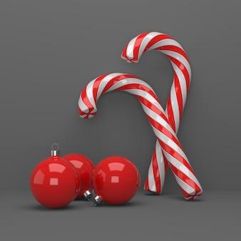 Bolas de natal vermelho branco torcido caramelo de cana doce
