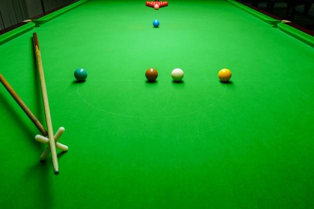 Bolas de sinuca na mesa de snooker verde