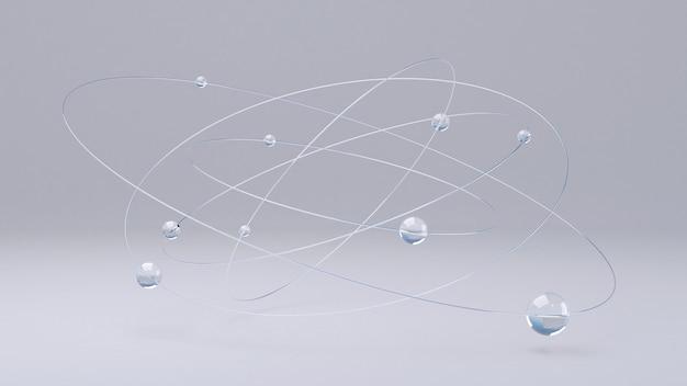 Bolas de vidro e anéis metálicos. ilustração abstrata, renderização em 3d.