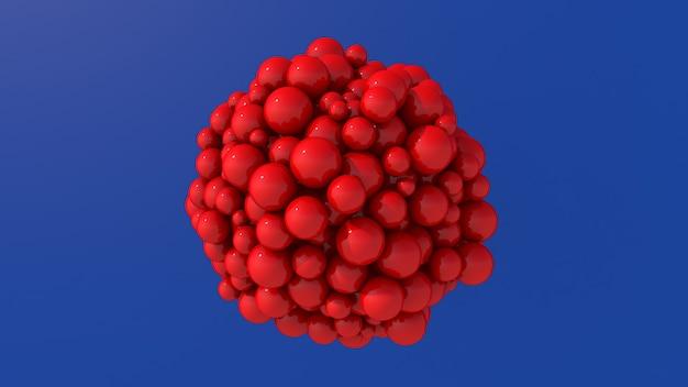 Bolas de vidro vermelhas, fundo azul brilhante. ilustração abstrata, renderização em 3d.