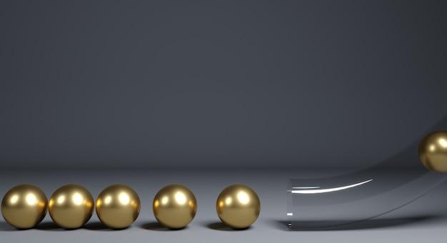 Bolas douradas e tubo transparente