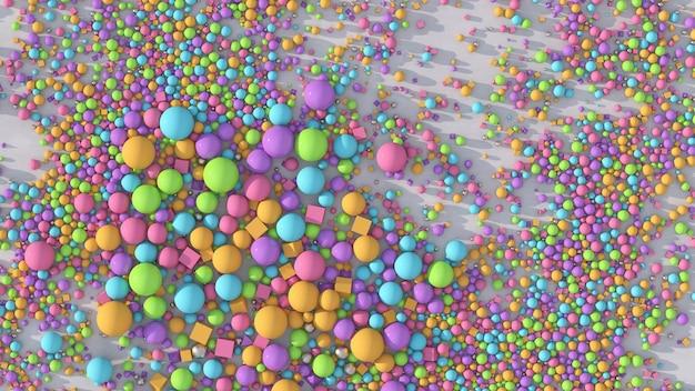 Bolas e cubos coloridos brilhantes ilustração abstrata