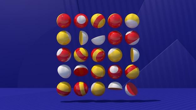 Bolas e hemisférios vermelhos, amarelos e brancos brilhantes