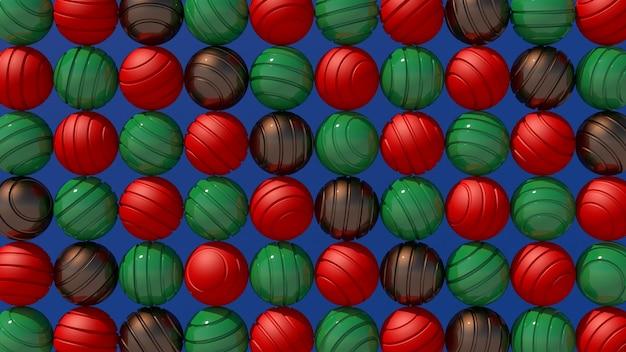 Bolas texturizadas vermelhas, verdes e marrons. luz forte. ilustração abstrata, renderização 3d.