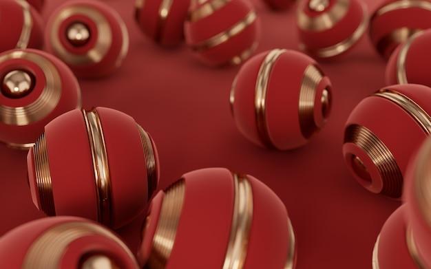 Bolas vermelhas com textura dourada no piso vermelho scifi ilustração 3d