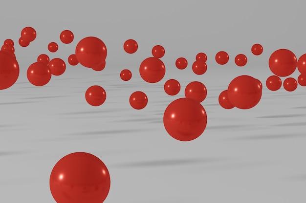 Bolas vermelhas voando sobre um fundo branco cena de renderização 3d abstrata