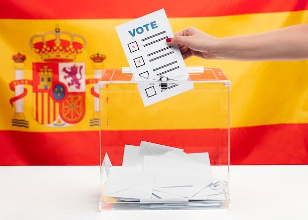Boletim de voto e caixa no fundo da bandeira espanhola
