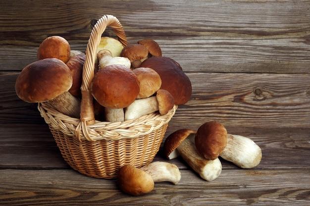 Boleto de cogumelos em fundo de madeira. cogumelos de outono. comida gourmet