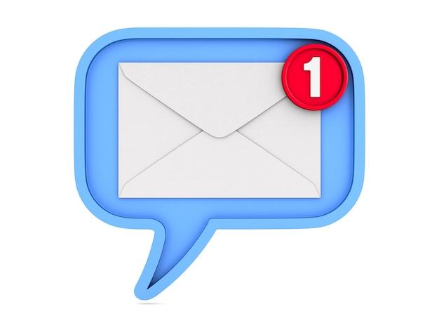 Bolha azul fala e envelope com notificação em branco.