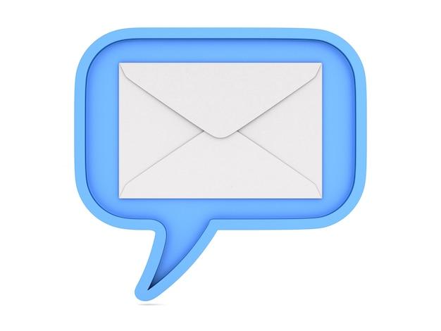 Bolha azul fala e envelope em branco.