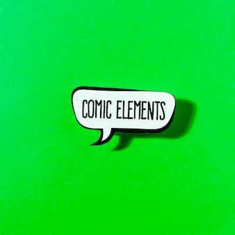 Bolha de discurso de elementos de quadrinhos sobre fundo verde