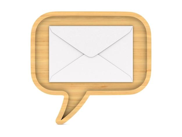 Bolha de madeira fala e envelope em branco.