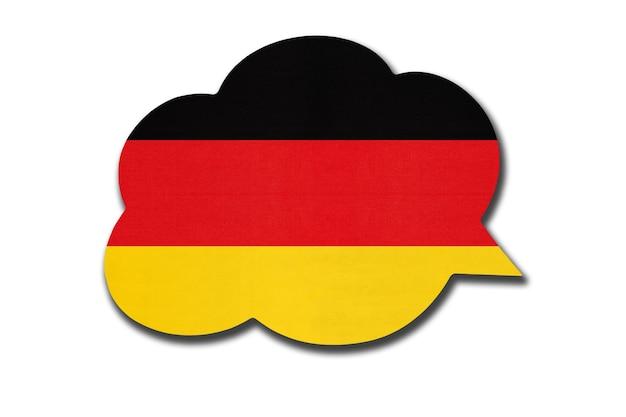 Bolha do discurso 3d com a bandeira nacional da alemanha, isolada no fundo branco. fale e aprenda a língua alemã. símbolo do país. sinal de comunicação mundial.