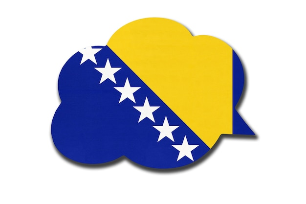 Bolha do discurso 3d com a bandeira nacional da bósnia e herzegovina, isolada no fundo branco. fale e aprenda a língua bósnia. símbolo do país. sinal de comunicação mundial.