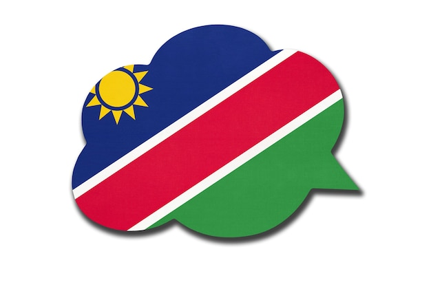 Bolha do discurso 3d com a bandeira nacional da namíbia, isolada no fundo branco. fale e aprenda a língua afrikaans. símbolo do país da namíbia. sinal de comunicação mundial.