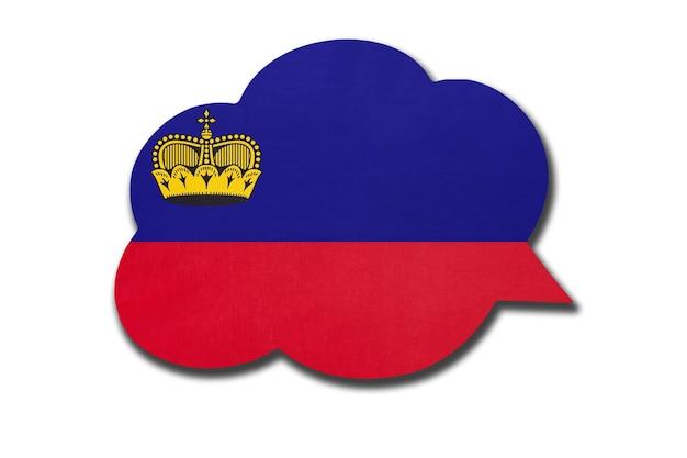 Bolha do discurso com a bandeira nacional de liechtensteiner. símbolo do país de liechtenstein.